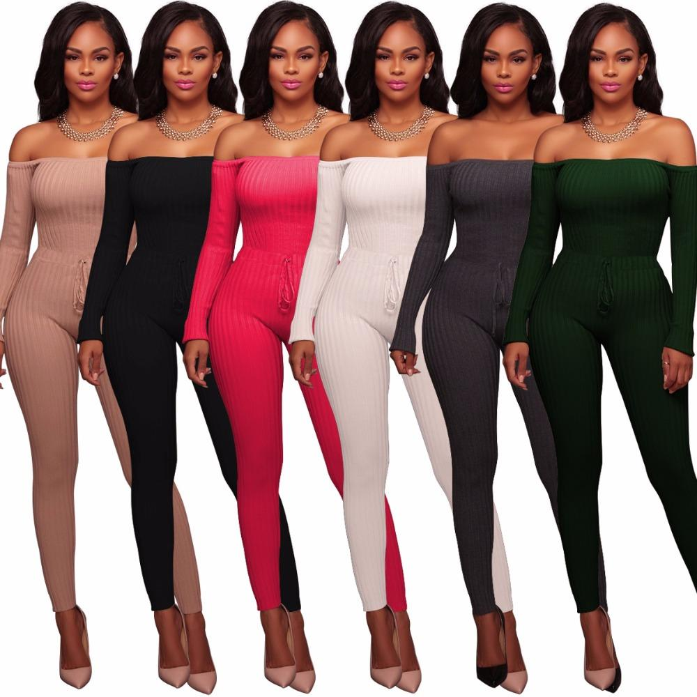 57aa645cd6f 2019 Summer New Off Shoulder Sexy Jumpsuit Lace Up Long Sleeve Bodysuit  Casual Overalls Ladies Skinny Pants Rompers Womens Jumpsuit From Vikey16