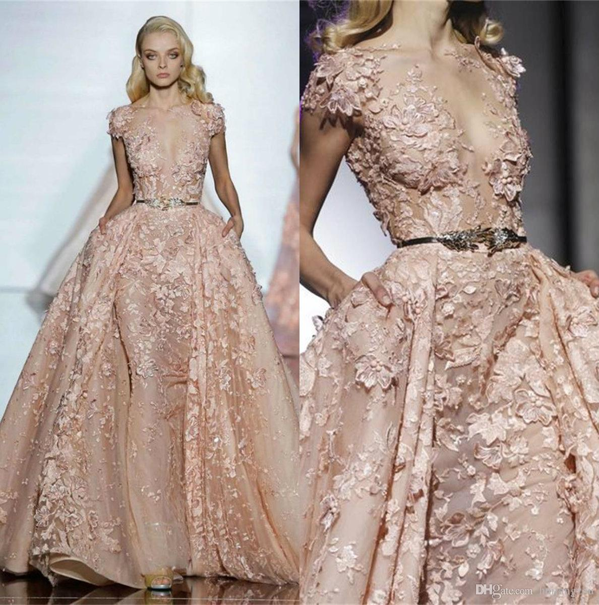 82b614711988 Zuhair Murad Elegant Blush Pink Prom Dresses With Overkskirt Exquisite Lace  Applique Evening Gowns Party Formal Wear Leaf Belts Designer Prom Dresses  ...