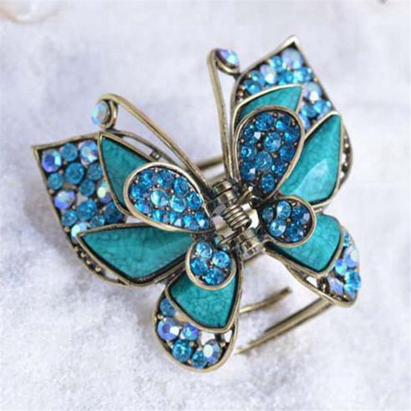 2019 Charm Multicolor Resin Big Butterfly Crab Clip Hair Jewelry Antique  Gold Vintage Rhinestone Hair Claw For Women Hair Accessories S919 From  Ruiqi07 b055b32cb1db