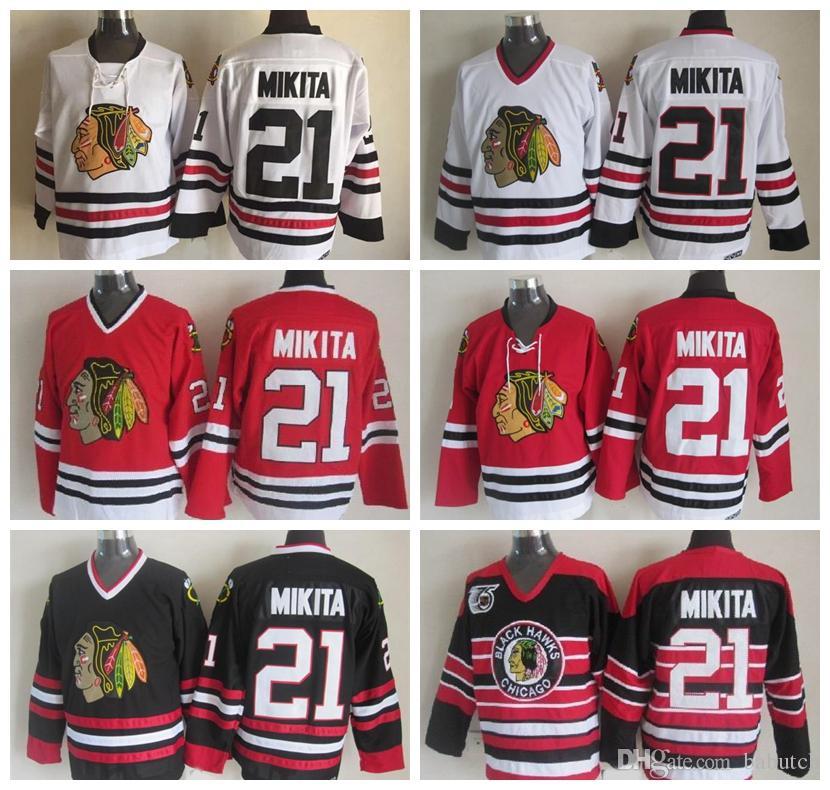 Retro Chicago Blackhawks Hockey Jerseys 21 Stan Mikita Home Red White  Vintage Stan Mikita 75th Anniversary Black Stitched Jersey Chicago  Blackhawks Stan ... 02530f5a8