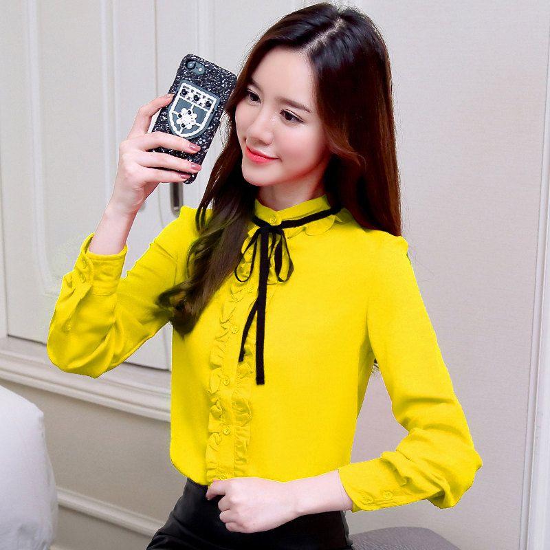 d56e21409 Compre Elegante Camisa Con Volantes Para Mujer Blusas Moda 2019 Blusa De  Gasa De Manga Larga Para Mujer Casual Bow Tops Tallas Grandes Blusa Chemise  Femme A ...