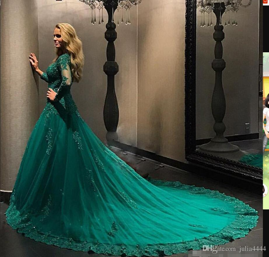 Emerald Green Evening Dresses 2018 Long Sleeve Elegant Ball Gown Applique Beaded Plus Size Prom Gowns Custom Made