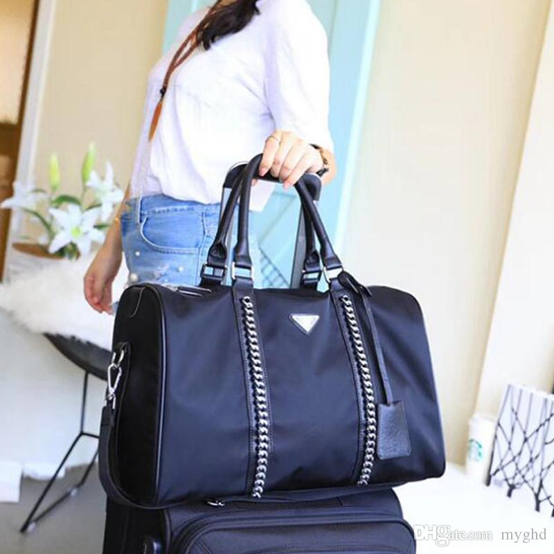 2018 Fashion Women Man Black Chains Gym Duffel Bags Oxford Handbags Travel Luggage  Bag Outdoor Sports Large Capacity Totes Bags Ladies Bags Backpack Purse ... d97be856d0