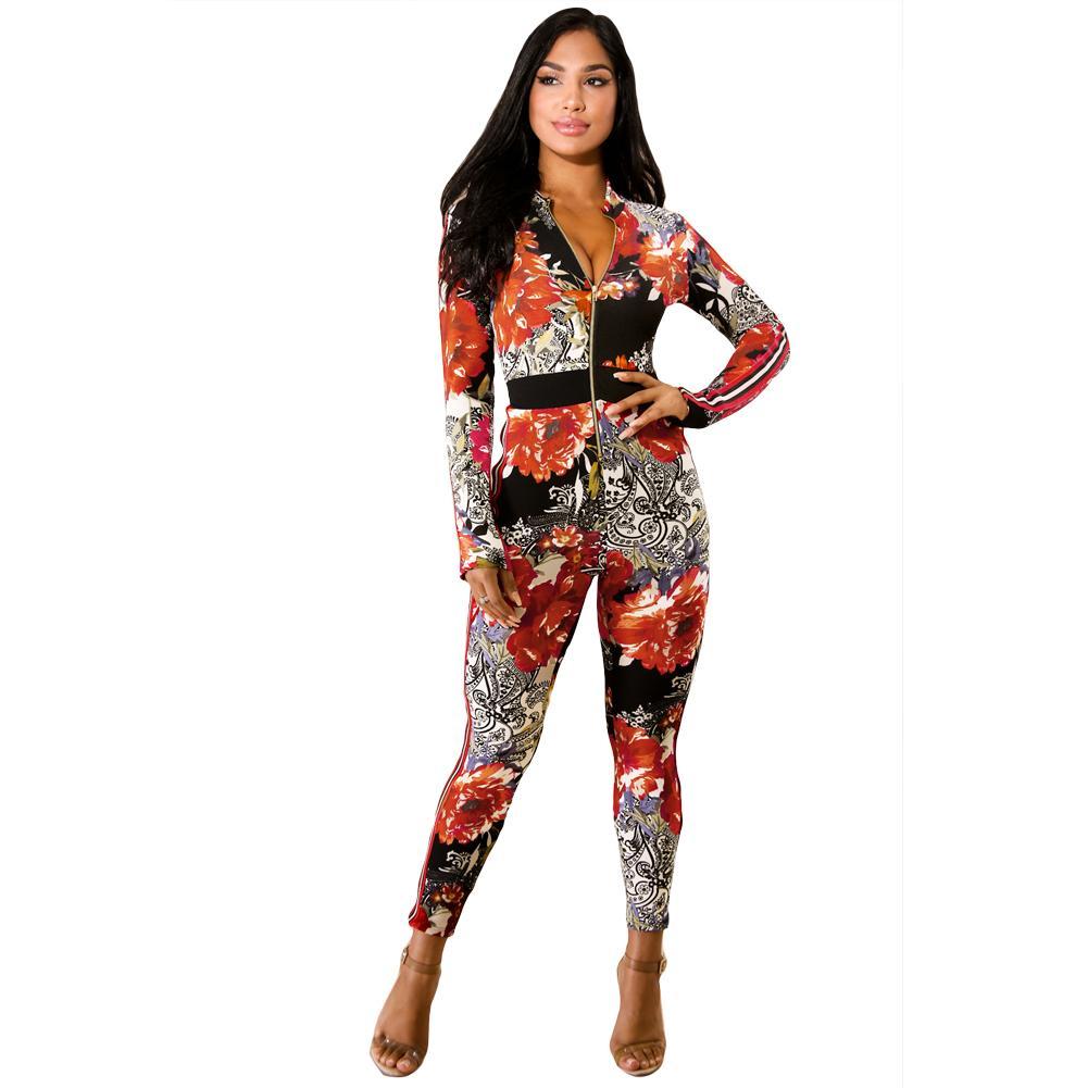 gro handel 2018 sexy frauen blumendruck jumpsuit one piece outfit damen bodycon overall. Black Bedroom Furniture Sets. Home Design Ideas