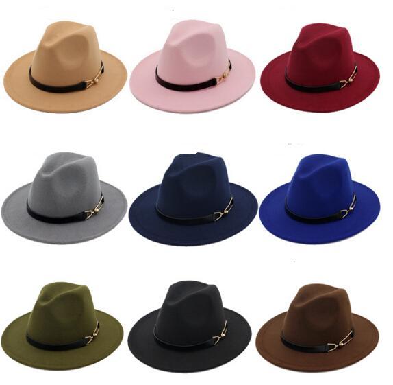 cc7430816aa7e Compre Nueva Moda TOP Sombreros Para Mujeres De Los Hombres Elegante De La  Manera Fieltro Sólido Sombrero De Fedora Banda Ancho Brim Jazz Sombreros  Con ...
