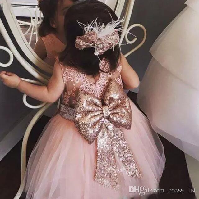 Bébé Infant Toddler Robes De Baptême Rose Paillettes Or Longueur Au Genou Tutu Robes De Fille De Fleur Avec Grand Arc Mignonnes Robes De Fête D'anniversaire 2017