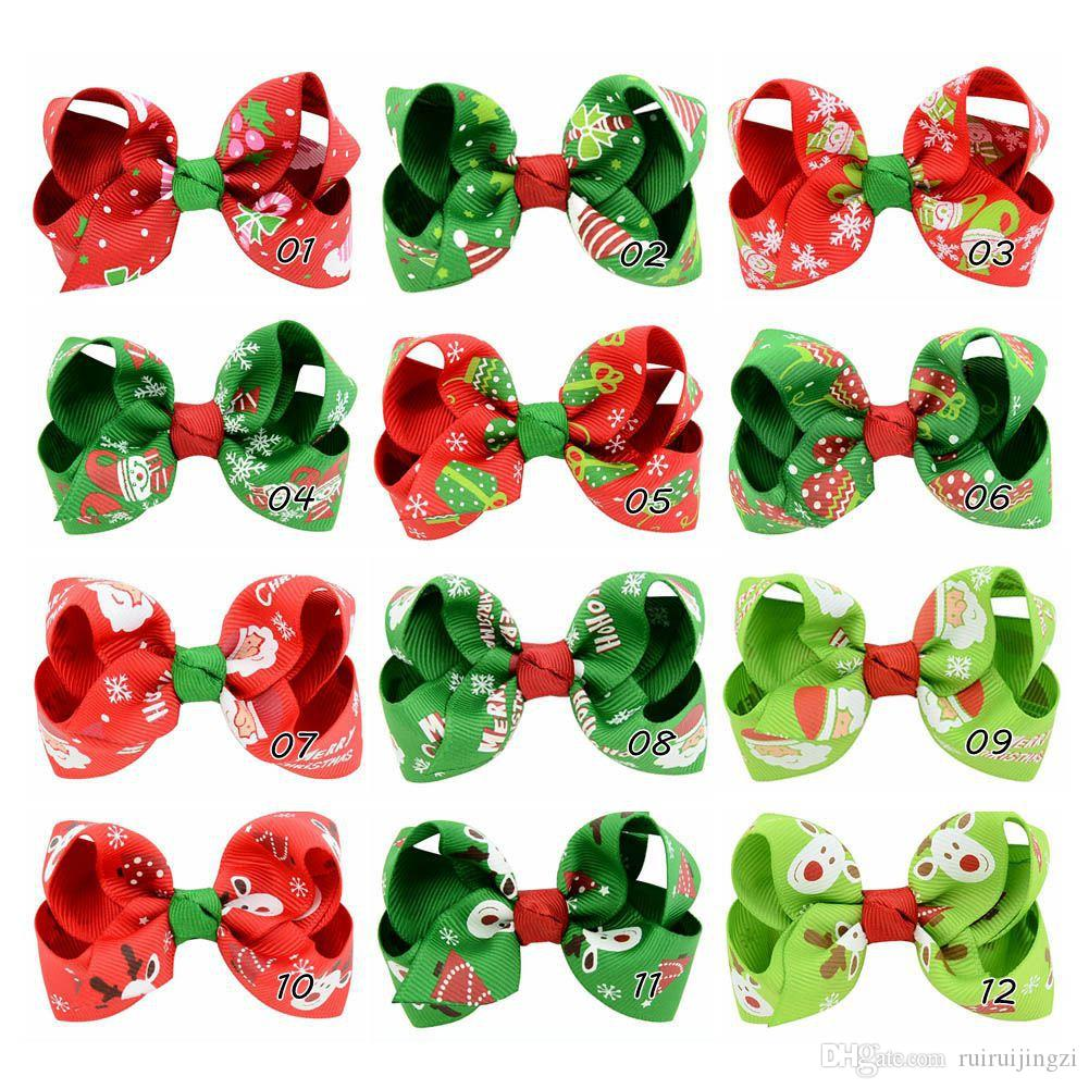Pet Cats Grooming Accessories Clips pet dog cat Hair bow Hairpin New Christmas Print Bow Hair Clip