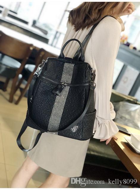 2018 nuevo bolso de cuero suave de PU / cierre de lengüeta / bolso de cubo para mujer 2018 nuevo bolso de cuero de PU / cuero suave en negro