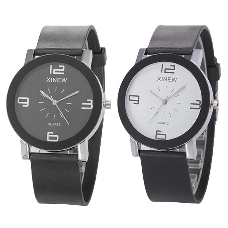 827ca9abc451 Купить Оптом Женщины Резиновые Кварцевые Наручные Часы Простые Большие  Номера Круглые Часы С Часами Часы Для Любовников Для Пары Подарок Feminino  Female ...
