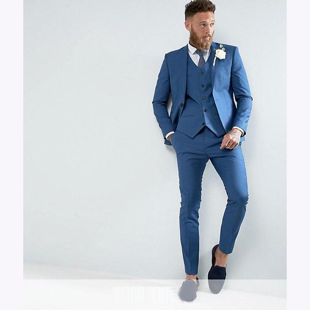 e7a109d05128f Compre Skinny Wedding Blue England Trajes Para Hombres 2018 Slim Fit Novio  Esmoquin Padrino De Boda Traje Por Encargo Para Hombre Chaqueta +  Pantalones + ...