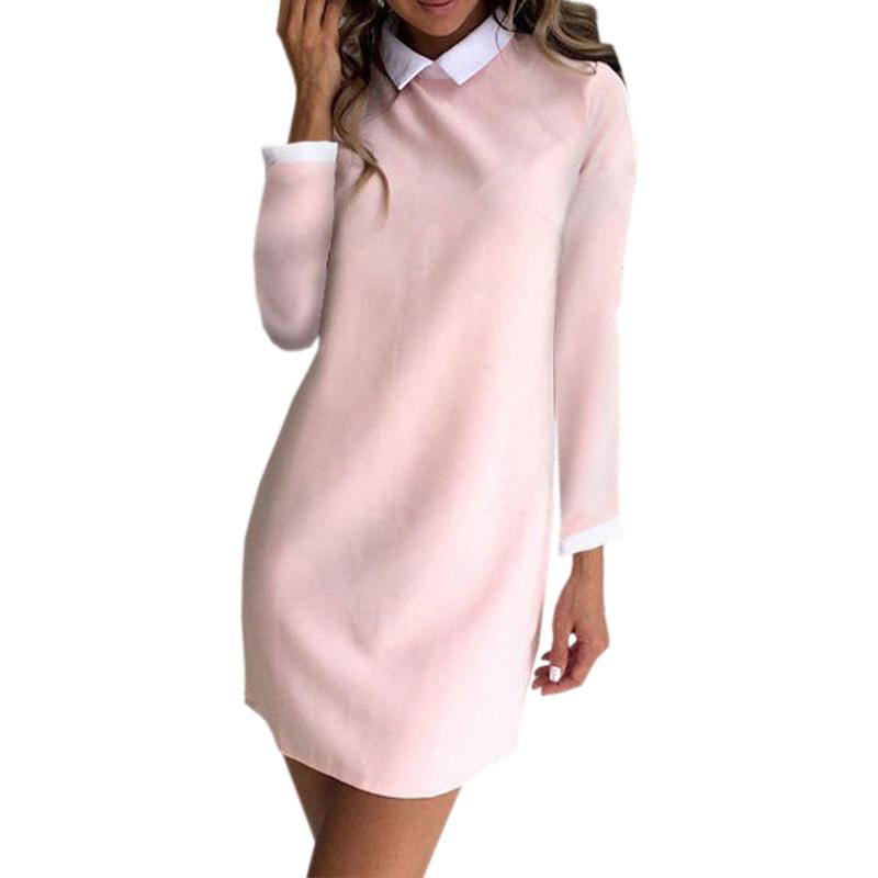 fc5999af2dc8 Pink Autumn Spring Dress Bodycon Mini Women Casual Turn Down Collar Elegant  Office Lady Dress Cute Kawaii Fashion Clothing M0225 Dresses Shopping Womens  ...