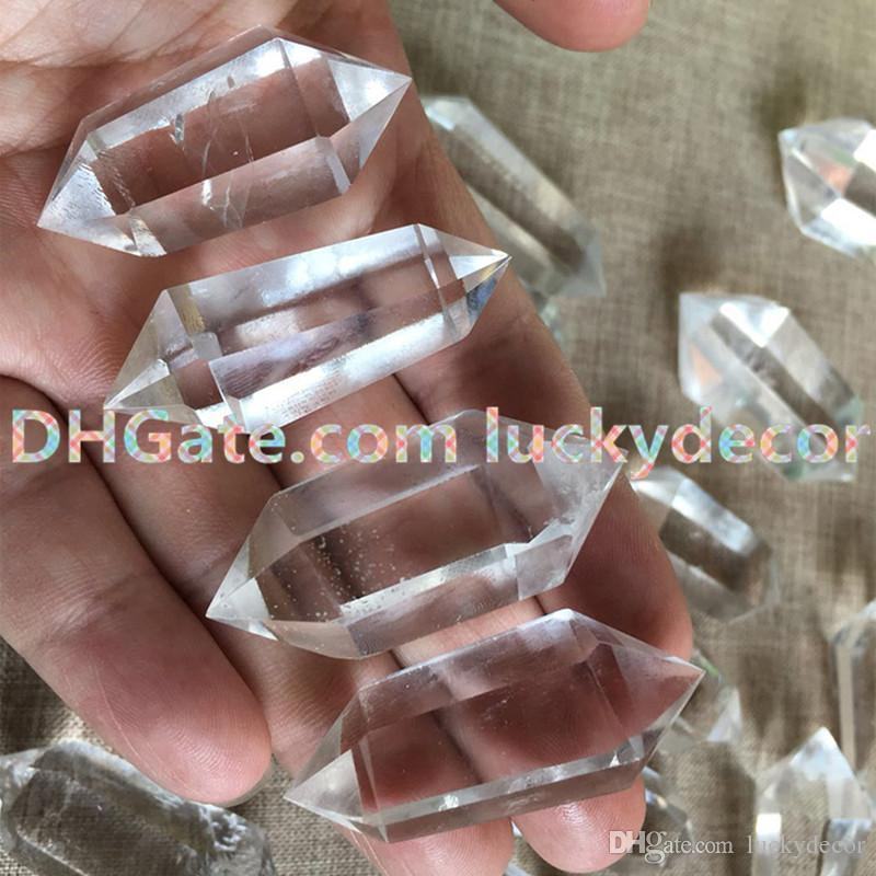 Polished Clear Quartz Crystal Point Prism Wand Double Terminated Natural White Rock Crystal Quartz Mineral Healing Meditation Stone Wand