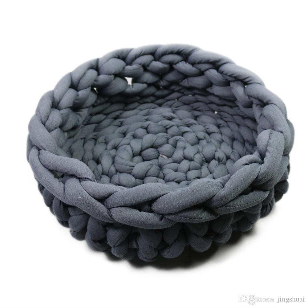 Acquista fatto a mano a maglia di lana grossolana pet letto gatto cuscino divano inverno caldo - Gatto divano microfibra ...