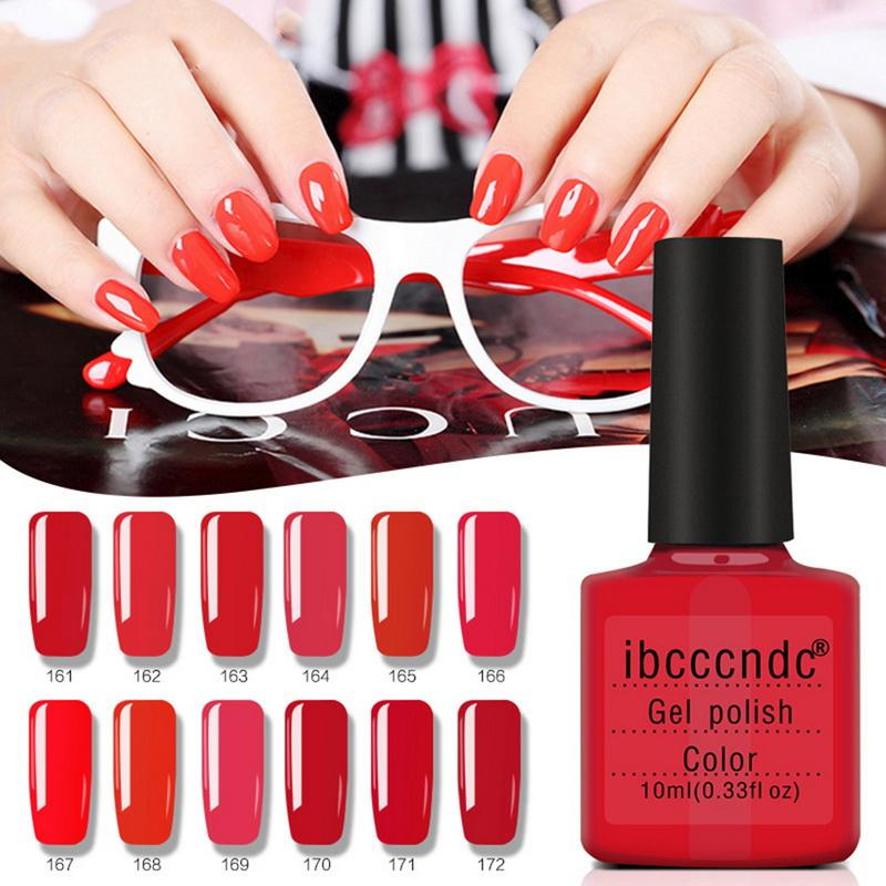 Ibcccndc Brand Classic Red Series Nude Color Nail Polish 10ml Gel Nails Art Design Manicure Soak Off Colorful Varnish 12 Colors