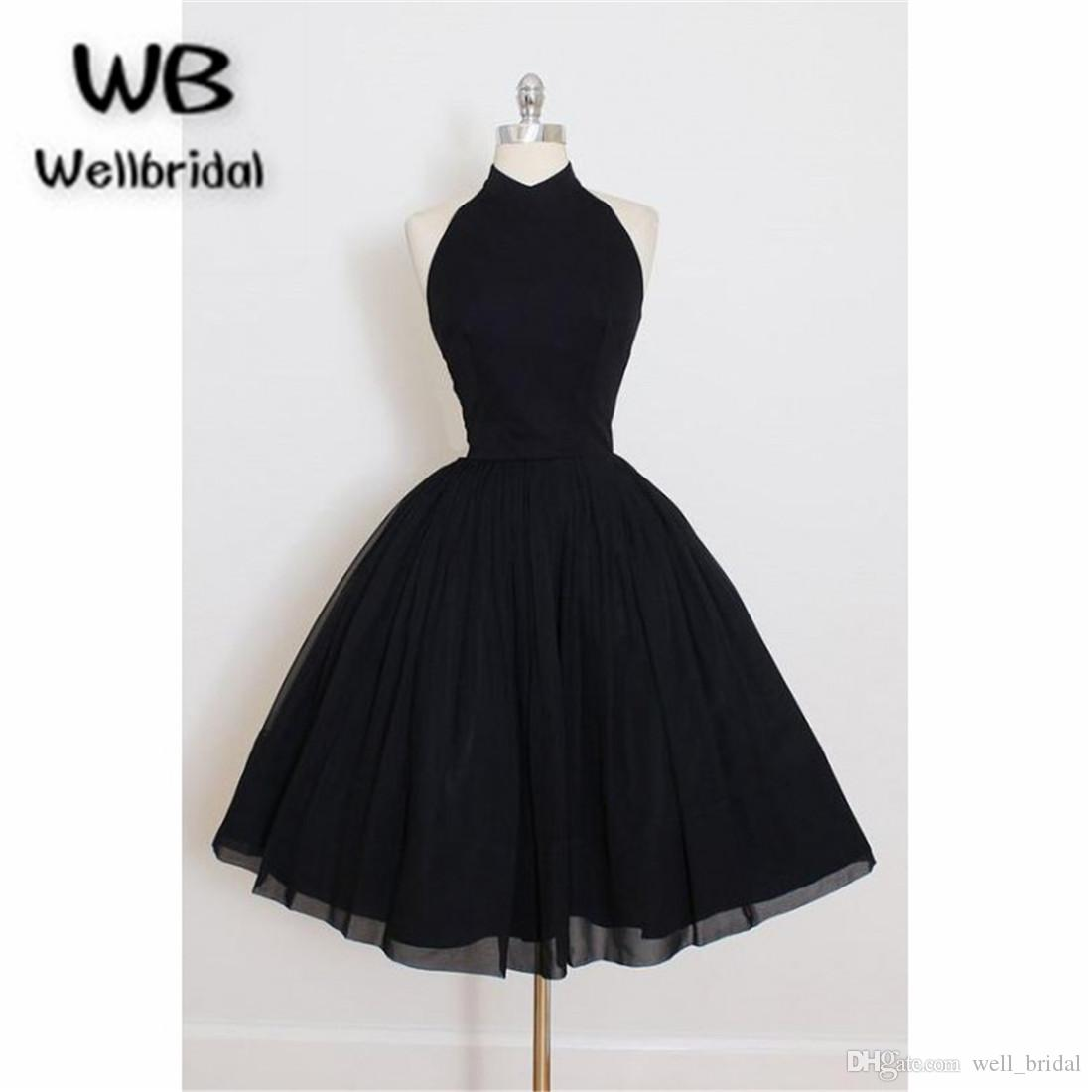 3c594b7510 2018 New Black Short Homecoming Dresses Halter Off Shoulder Tulle ...