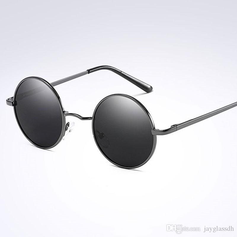 aeb3da4ea3 Compre Diseño De Marca Moda Gafas Redondas Gafas De Sol Polarizadas Unisex  Montura Oval Gafas De Sol Redondas Gafas De Sol Redondas Lente Negra UV400  A ...