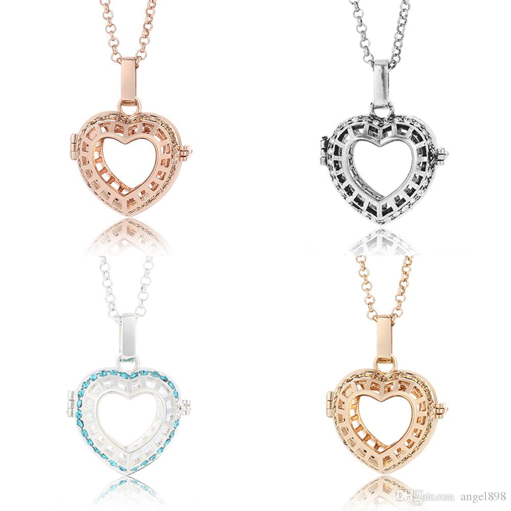 Wholesale hot sell diamond heart interchangeable angel bola wholesale hot sell diamond heart interchangeable angel bola necklaces music hollow sound ball pendants in long chain necklaces for women pe jewelry silver aloadofball Images