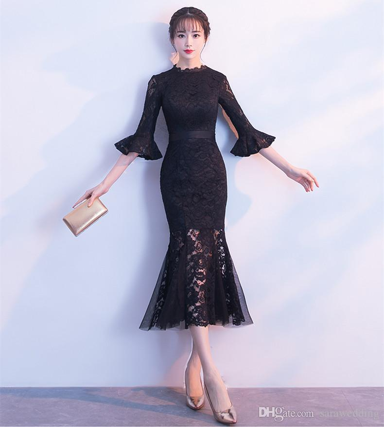 black lace midi cocktail dress