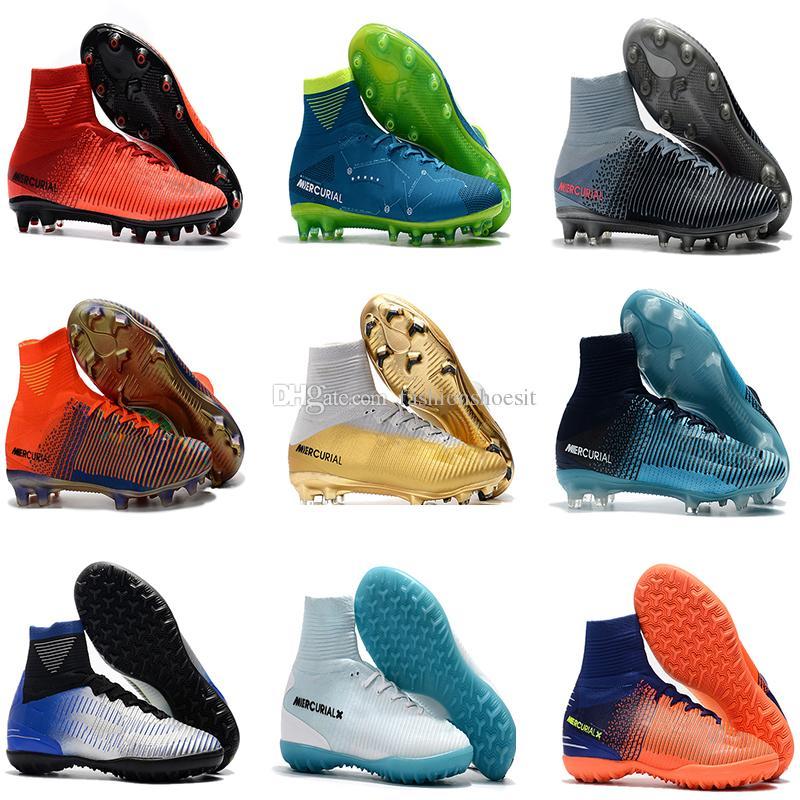 32e65ab32a7 Compre Sapatos De Futebol De Crianças Mercurial CR7 Superfly V FG Tf Ag  Prego Neymar Futebol Botas Chuteiras De Futebol Infantil Cristiano Ronaldo  De ...