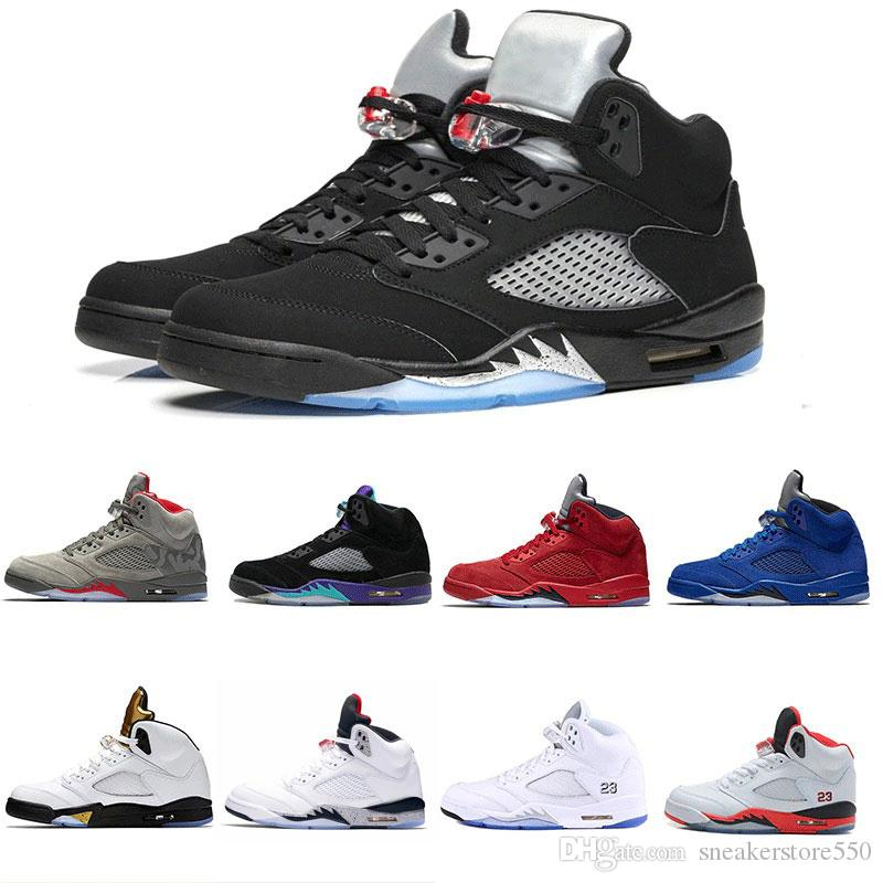 san francisco 13bc1 b63c5 Acquista Nike Air Jordan 5 Aj5 Retro Alta Qualità 5 5s Black Metallic 3M  Reflect Black Grape Oreo Scarpe Da Basket Uomo 5s Red Suede CDP White  Sneakers In ...