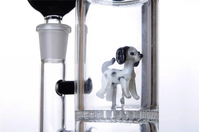 Nuevo Honeycomb Bong Cute Dog Perc Unique Cool Glass Pipe 14mm Flower Bowl 9 pulgadas
