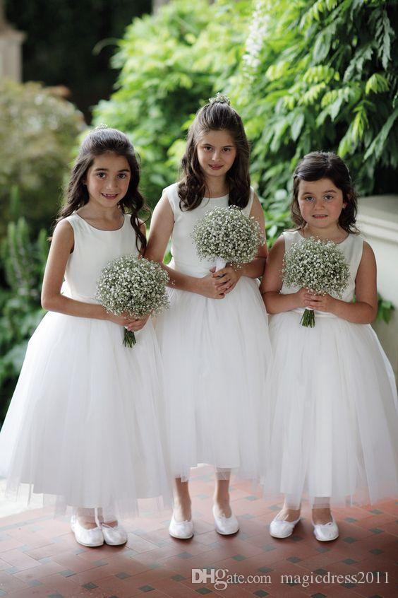 2019 Cheap Lovely Short Flower Girls Dresses Lace Ruffles Tulle Tutu Dress Puffy Little Girls Formal Wedding Party Gowns