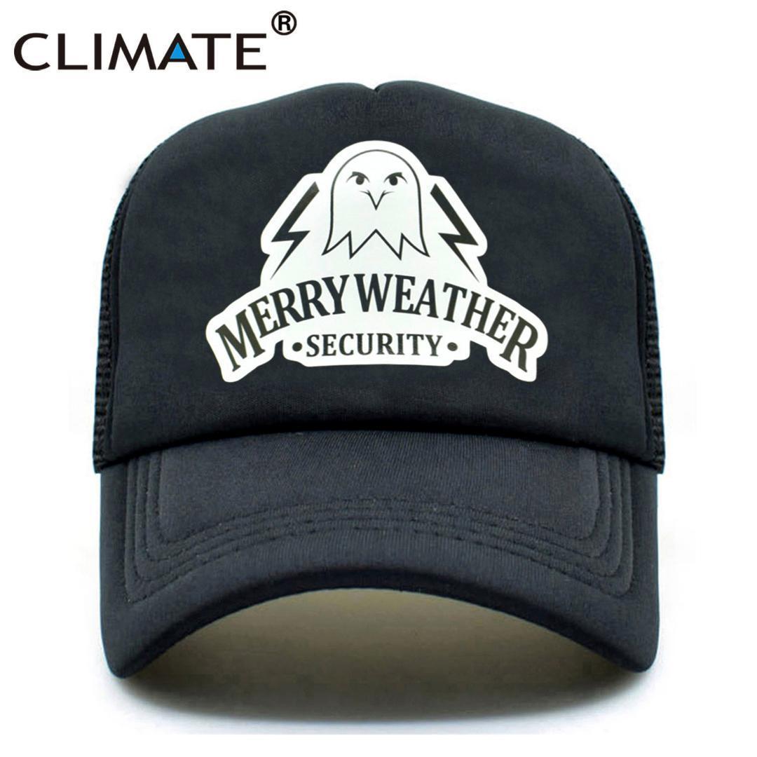 CLIMATE Summer GTA 5 Trucker Caps Hot Game Grand Theft Auto V 5 Fans Caps  Merry Weather Security Cool Black Mesh Trucker Cap Hat Cap Hat Flat Caps  For Men ... 8f0ee1856fe