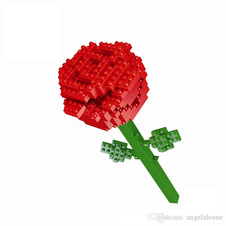Grosshandel Red Rose Nanoblock Bricks Modell Valentinstag Geschenke