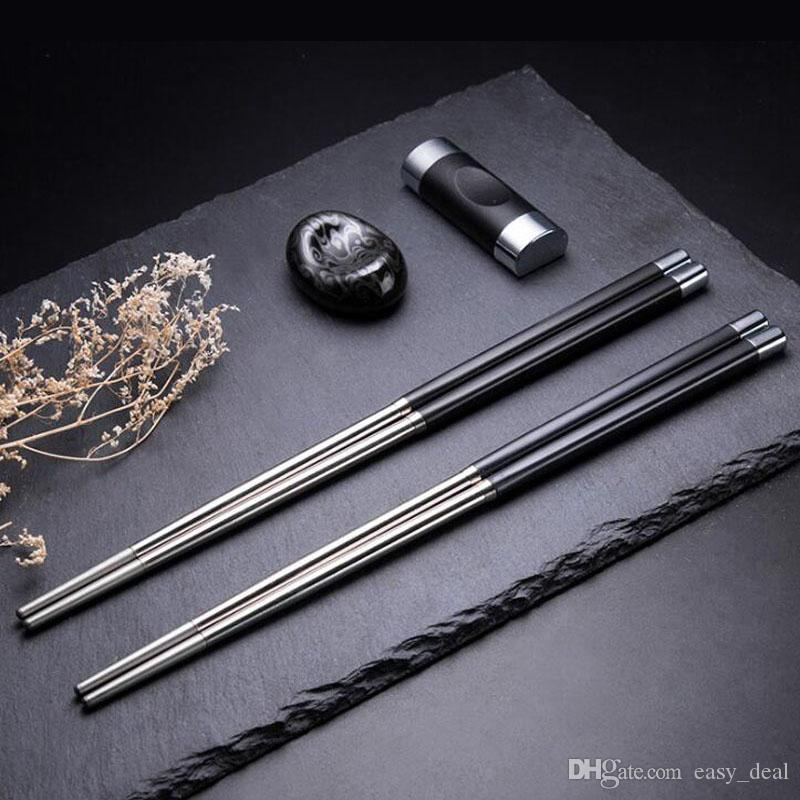 Japanese Style Chopsticks Set Stainless Steel Reusable Travel Exquisite Cutlery Chopsticks Holder Rack ZA6207
