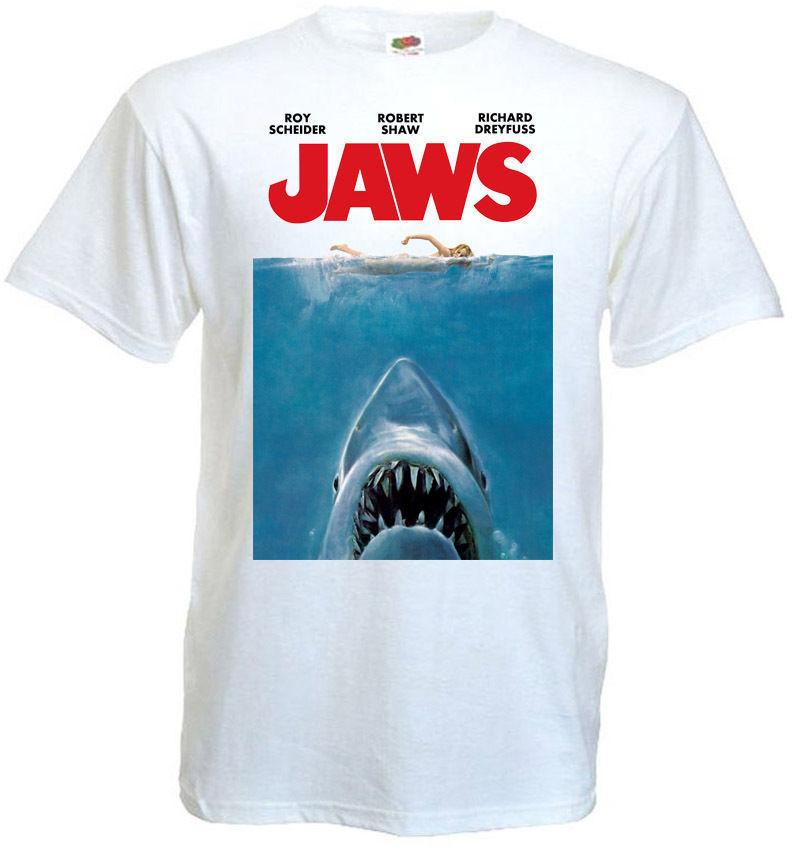 ab2f6cb176b8f JAWS ver.1 T-shirt white Movie Poster all sizes S...5XL Men's T-shirt Cool  Funny T Shirt Short Sleeve Tops Tee