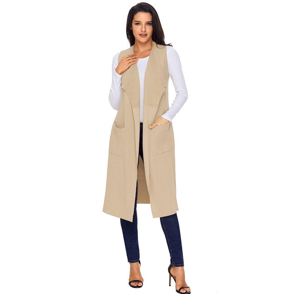 9b7e944a7f 2018 Woman Autumn Winter Fashion Casual Sweater Vests Cardigan Waistcoat Sleeveless  Long Knitted Female Clothing Colete Feminino Cardigans Cheap Cardigans ...