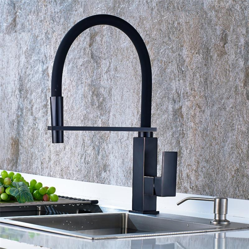 Newest Kitchen Faucet Pull Out Down 360 Degree Rotation Nickle Brushed ORB Single Handle Sink Hot&Cold ,the black kitchen faucet