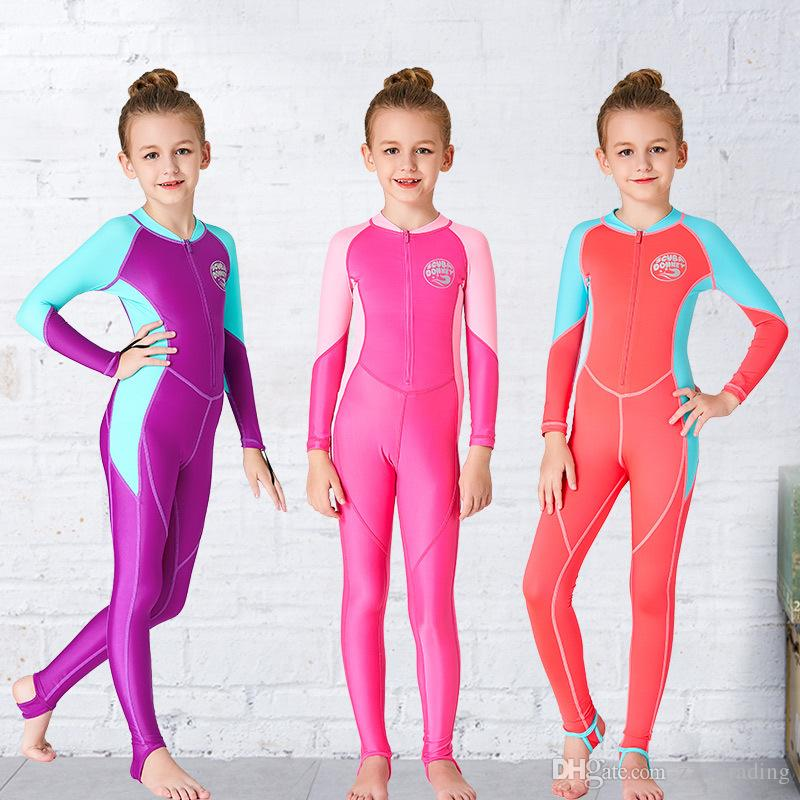 e0927235ed 2019 Professional Kids Wetsuit Girls Long Sleeve Scuba Diving Swimsuit  Sport Swimwear Snorkeling Suit Children Surfing Rush Guard Hot Products  From ...
