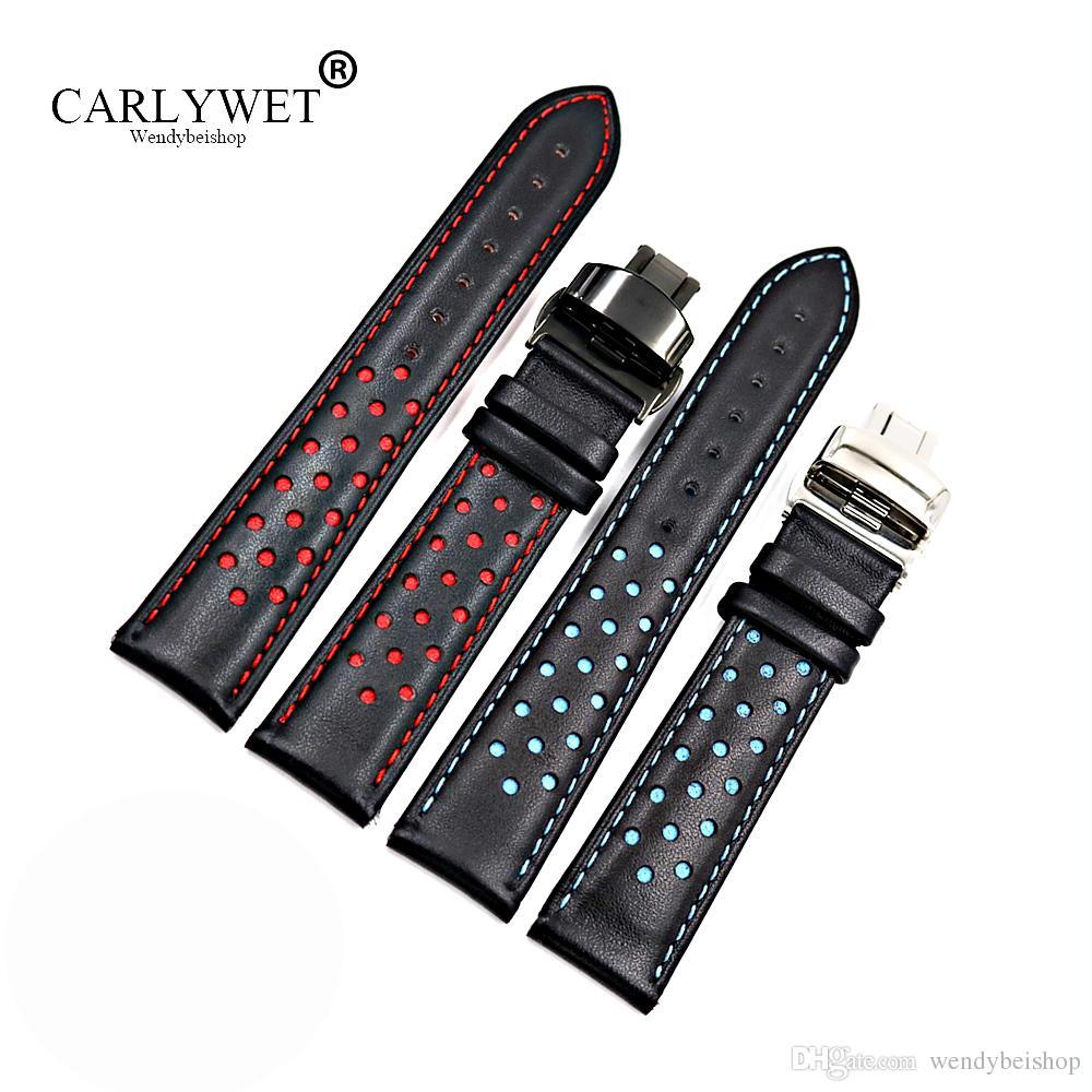كارليويت 20 22 ملليمتر جلد البقر اليدوية أسود أحمر أزرق استبدال المعصم حزام حزام مزدوج دفع المشبك ل علامة carrera
