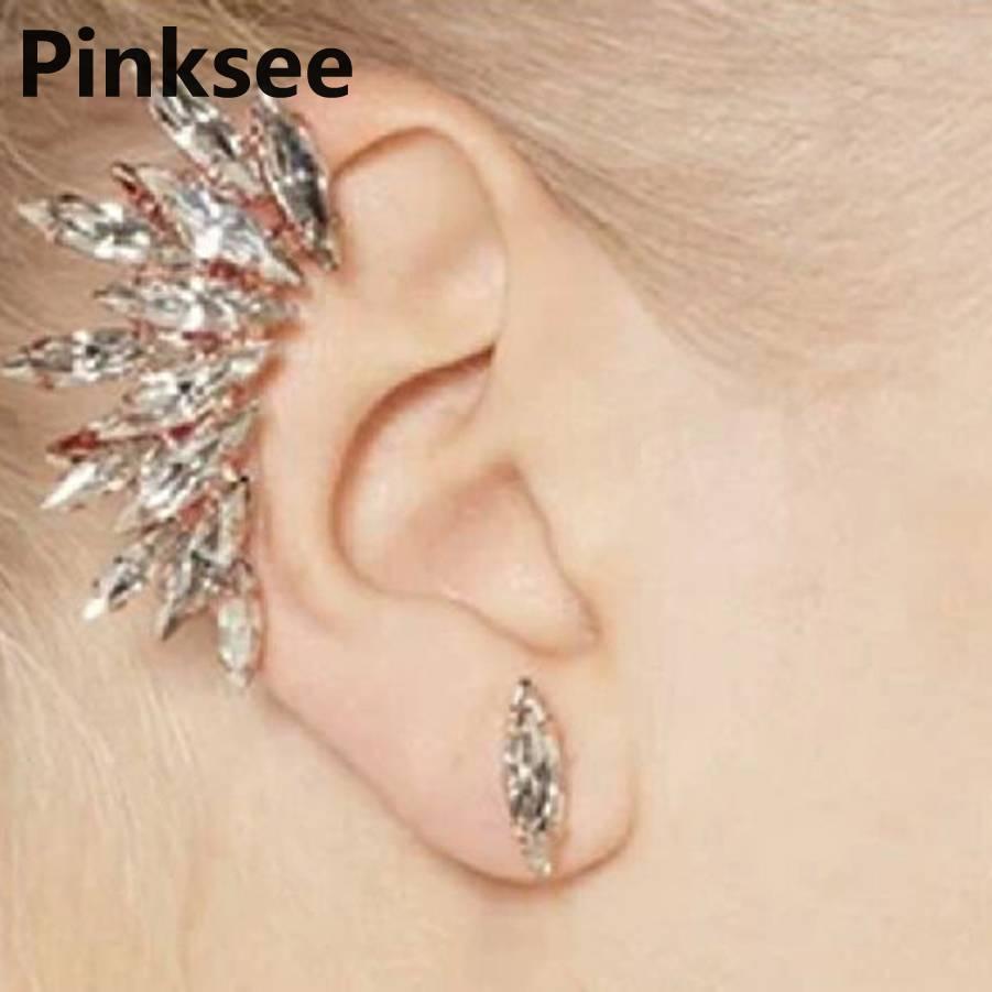 Punk Celebs Wing Shape Crystal Ear Cuff Women Golden Earrings Warp Clip Set Jewelry Party Accessories Drop Free