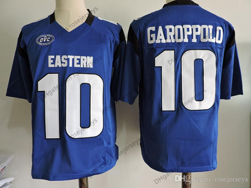 brand new baa52 78e75 Custom Eastern Illinois Panthers #10 Jimmy Garoppolo FCS Blue Jersey  Stitched SF Black Red White Rush NCAA Football Mens Youth Women Kid