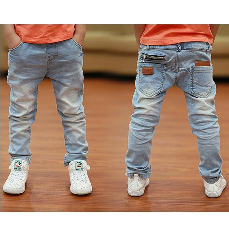 2-12Yrs Çocuklar Pantolon Bahar Sonbahar Denim Giysileri Büyük Erkek Streç Kot Moda Kinder Kot Jongens Çocuk Kalem Tayt