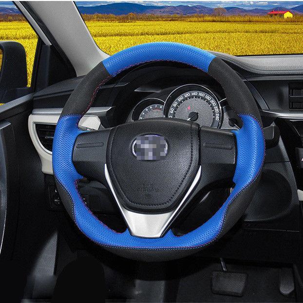 Acheter Pour Couvre Volant De Voiture RAV 4   Corolla Noir En Daim Avec  Cuir Bleu De  47.23 Du Ocp9636   DHgate.Com 074350085f05