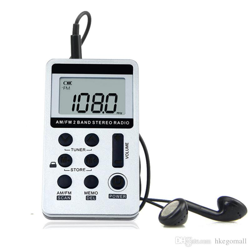 New JINSERTA Portable Radio FM/AM Digital Portable Mini Receiver With Rechargeable Battery& Earphone Radio Recorder+Lanyard