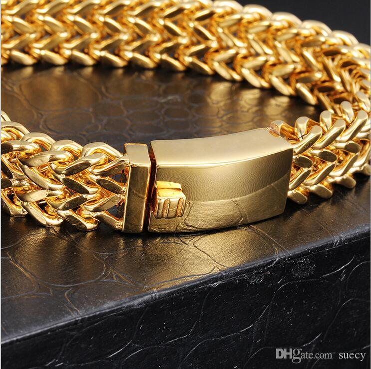12mm 18mm Width High Quality Biker Bracelet 316L Stainless Steel Gold 2 Row Figaro Mesh Chain Bracelet Bangle Handsome Men's Boy Jewelry