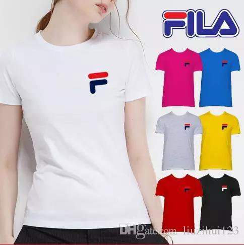 faaf7ea0cd Cheap Couple Women FILA T-Shirts for Lovers Women Men Couples Clothing  Summer Short Sleeve Casual O-Neck Tops White Matching Cotton