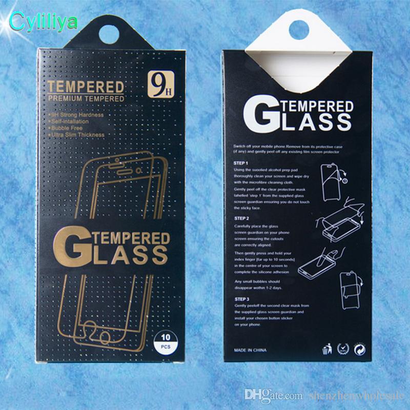 Leer-Schirm-Schutz-Kleinpaket Papierkästen Display-Verpackungen für Premium-ausgeglichene Glas-9H 2.5D für iPhone 5 6 7 plus