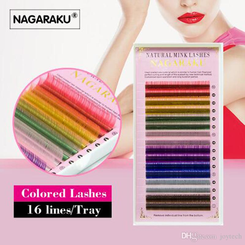 Top quality NAGARAKU 16rows macaron 8 Colors Colored Eyelash Extension Faux Mink color eyelashes colorful eyelash russian lash extensions