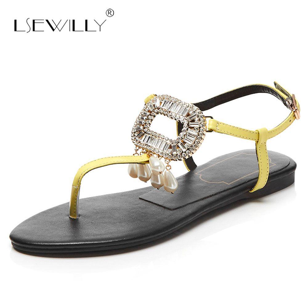 f7222ba9721638 Wholesale Rhinestone Ankle Buckle Sandals Ladies Footwear Genuine Leather  2018 Fashion Summer Pearl Woman Sandals Flat Heel S208 Nude Wedges Bridal  Shoes ...
