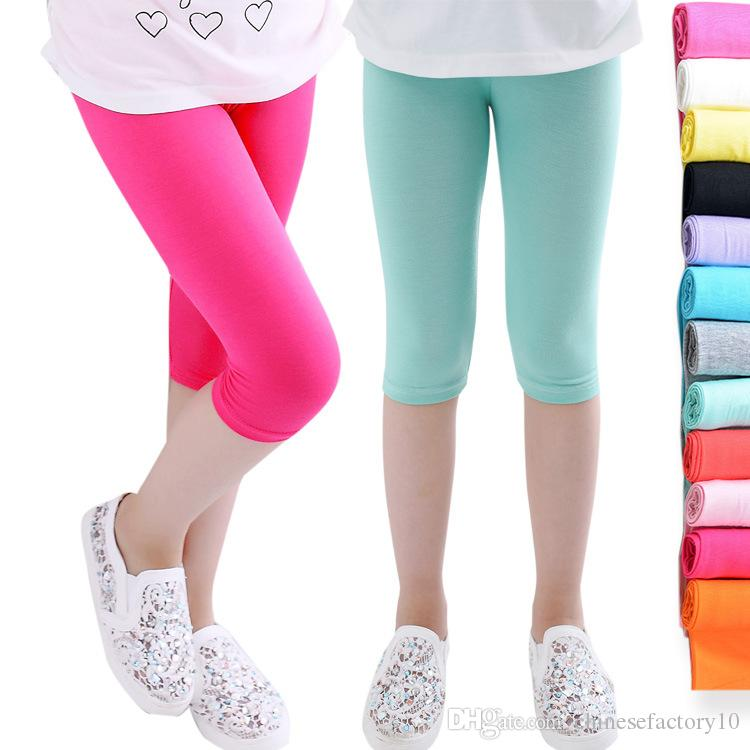 5d3c97accebfa2 2019 Girls Leggings Kids Short Tights Cropped Trousers Children Yoga Pants  Skinny Elastic Cartoon Soft Leggings Solid Color 2018 From  Chinesefactory10