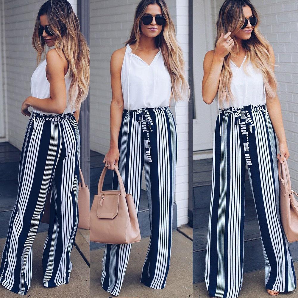 Women's Clothing Hot Fashion Women Ladies Casual Long Pants High Waist Striped Wide Leg Loose Palazzo Long Pants Trousers