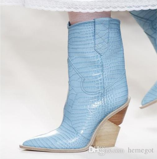 Blue yellow snake skin Women 2018 Pointed Toe Western Boots Cowboy Boots runway design Chunky Wedges heel Mid-calf Boots