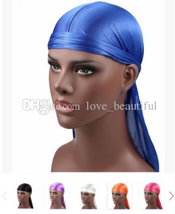 2018 New Fashion Men's Satin Durags Bandana Turban Wigs Men Silky Durag Headwear Headband Pirate Hat Hair Accessories