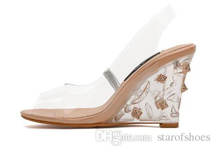 2018 Women Wedge Sandals PVC Sandals With Transparent Heel Wedding Shoes Crystal Clear High Heels Peep Toe Pumps
