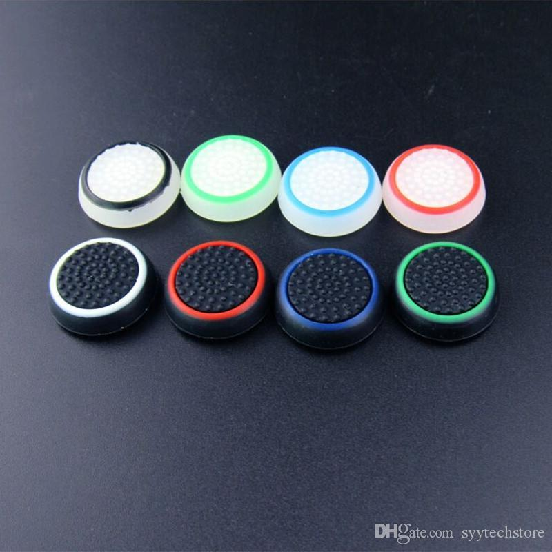 الشحن المجاني لون مزدوج الإبهام عصا قبضة سيليكون غطاء المقود غطاء الحالات السيليكون غطاء للPS4 إكس بوكس واحد PS3 تحكم Xbox 360
